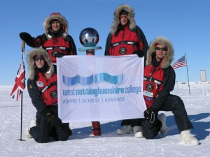 The Polar Challenge team at the South Pole wearing our Paramo clothing.