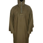 Unisex_Poncho_Moss_Front_HoodUp_ArmsClosed