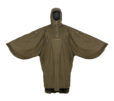 Unisex_Poncho_Moss_Front_HoodUp_ArmsOpen