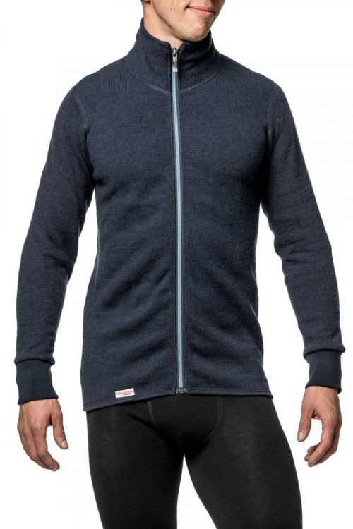 photo of Woolpower 400 full zip sweater in dark navy nordic blue colour