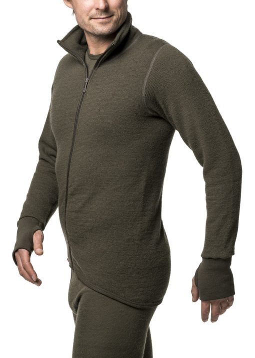 photo of Woolpower 400 full zip sweater in pine green colour