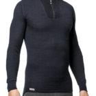 woolpower 7222 200 zip turtleneck navy