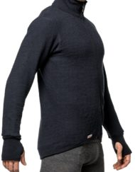 photo of woolpower 600 full zip sweater in dark navy colour